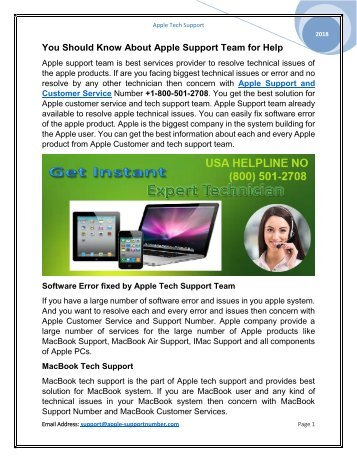 Call @ +1-800-501-2708 to Apple Support and Customer Service