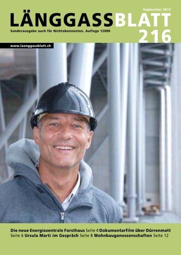 Länggassblatt 216 - September 2012
