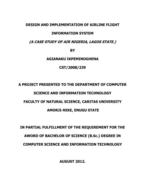 Design And Implementation Of Airline Flight Information System