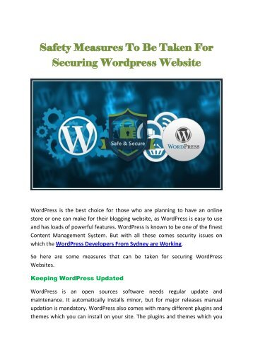 Safety Measures To Be Taken For Securing Wordpress Website