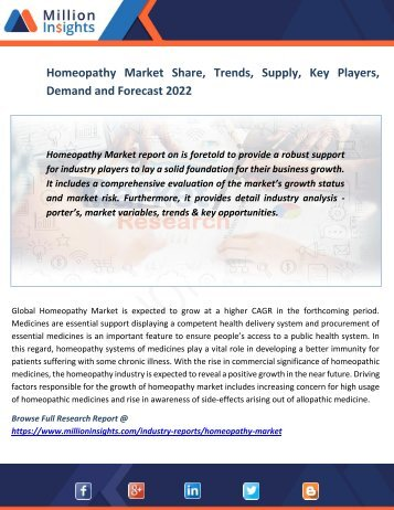 Homeopathy Market Share, Trends, Supply, Key Players, Demand and Forecast 2022
