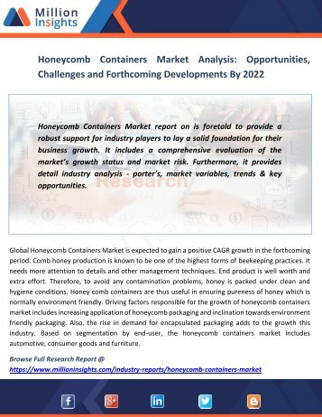 Honeycomb Containers Market Analysis Opportunities, Challenges and Forthcoming Developments By 2022