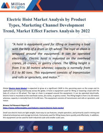 Electric Hoist Market By Manufacturers, Countries, Type And Application, Forecast To 2022