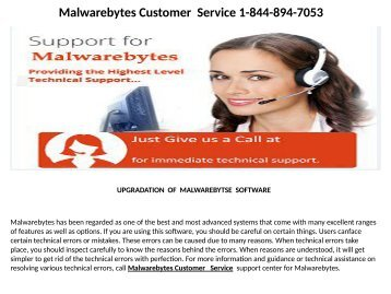 Malwarebytes customer services Number   1-844-894-7053