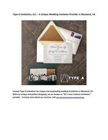 Type A Invitations, LLC. – A Unique Wedding Invitation Provider in Maryland, VA
