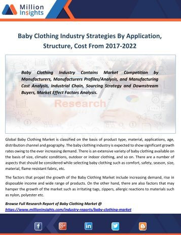 Baby Clothing Industry Strategies By Application, Structure, Cost From 2017-2022
