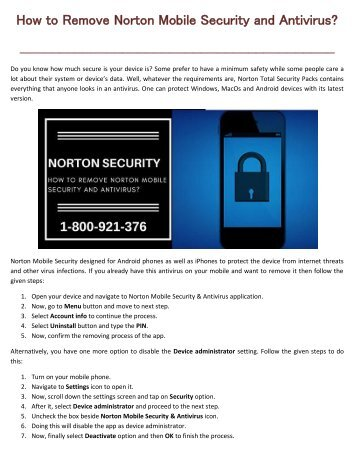 How to remove norton Mobile Security and Antivirus