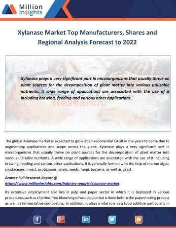 Xylanase Market Shares, Trends, Growth Factors and Challenges Forecast to 2017-2022