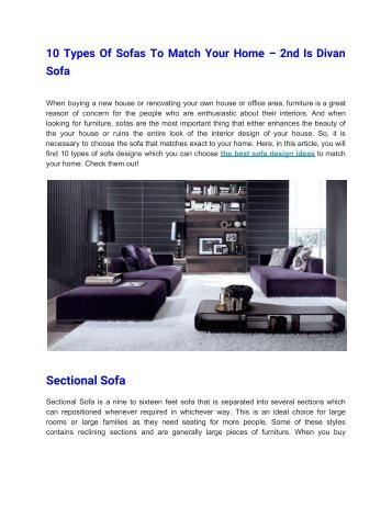 10 Types Of Sofas To Match Your Home – 2nd Is Divan Sofa