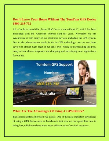 Don't Leave Your Home Without The TomTom GPS Device 1800-215-732