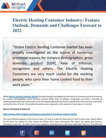 Electric Heating Container Market Research 2022: Top Key Vendors and Market Insights