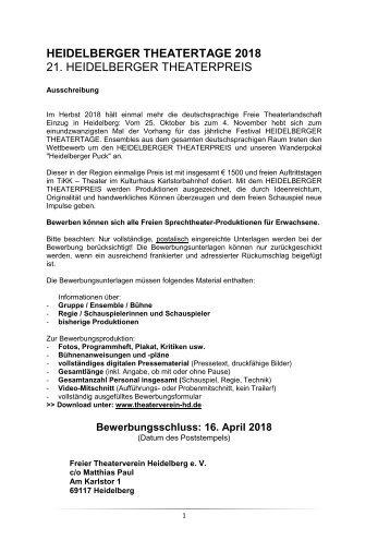 Heidelberger Theatertage 2018 - Auschreibung/Bewerbungsformular