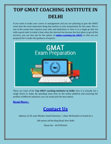 TOP GMAT COACHING INSTITUTE IN DELHI
