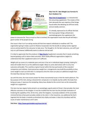 Max Trim FX : Best Weight Loss Formula To Burn Stubborn Fat