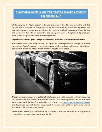 Automotive Dealers Are you ready to provide Customer Experience 4.0