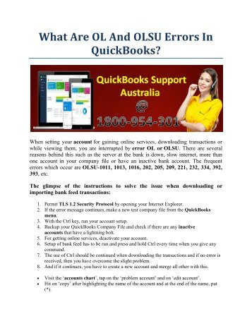 What Are Ol And Olsu Errors In QuickBooks?