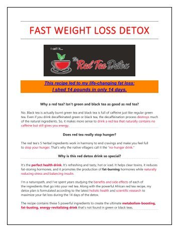 The fast weight loss detox