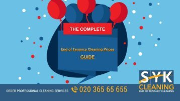 End of Tenancy Cleaning Prices Guide