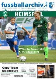 Programmheft 2017/18 3. Liga 25. Spieltag SV Werder Bremen U23 - 1. FC Magdeburg