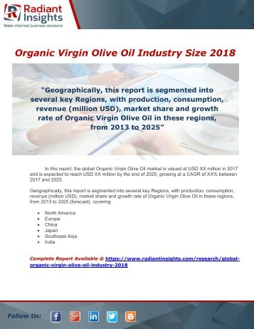 Organic Virgin Olive Oil Industry Analysis 2018