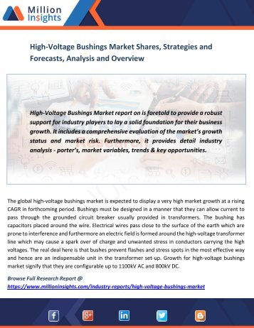 High-Voltage Bushings Market Shares, Strategies and Forecasts, Analysis and Overview