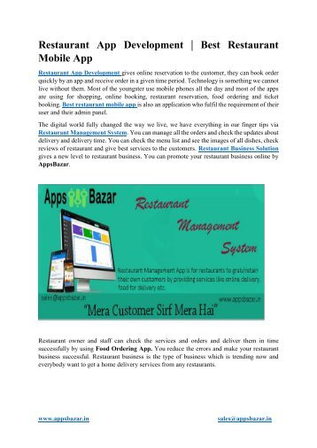 Restaurant App Development  Best Restaurant Mobile App