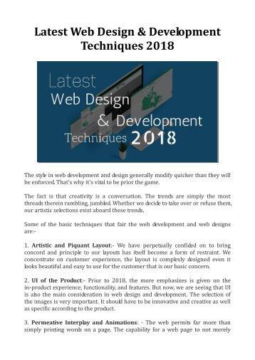 Latest Web Design & Development Techniques 2018