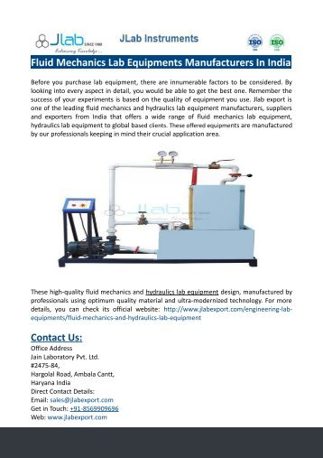 Fluid Mechanics Lab Equipments Manufacturers In India
