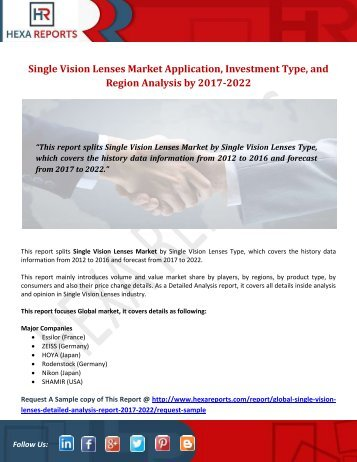 Single Vision Lenses Market Application, Investment Type, and Region Analysis by 2017-2022