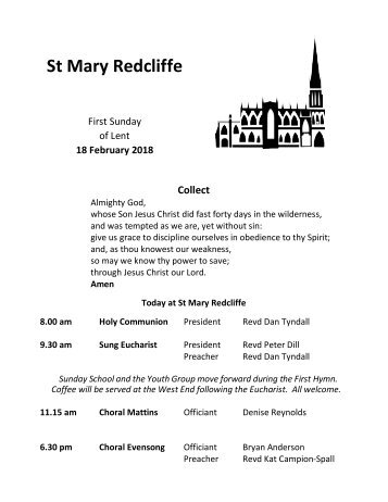 St Mary Redcliffe Church Pew Leaflet - February 18 2018
