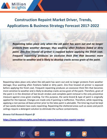 Construction Repaint Market Driver, Trends, Applications & Business Strategy Forecast 2017-2022