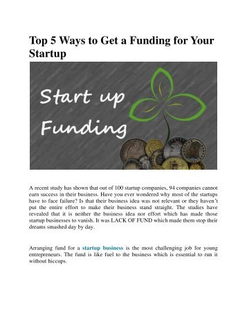 Top 5 Ways to Get a Funding for Your Startup