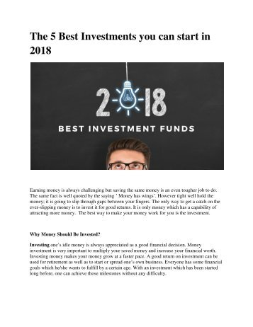 The 5 Best Investments you can start in 2018