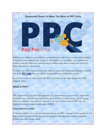 Sequential Steps To Make The Most of PPC India
