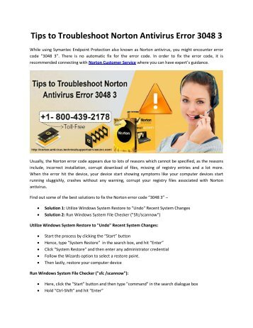 Tips to Troubleshoot Norton Antivirus Error 3048 3