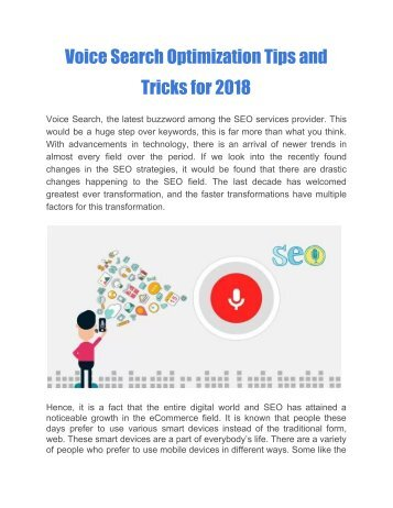 Voice Search Optimization Tips and Tricks for 2018