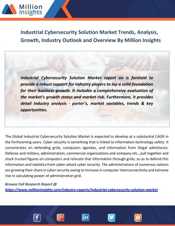 Industrial Cybersecurity Solution Market Trends, Analysis, Growth, Industry Outlook and Overview By Million Insights