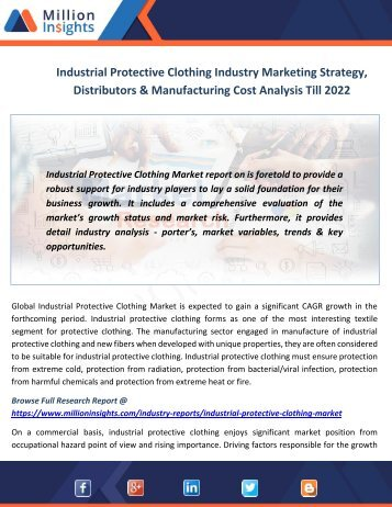 Industrial Protective Clothing Industry Marketing Strategy, Distributors & Manufacturing Cost Analysis Till 2022