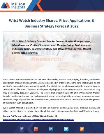 Wrist Watch Industry Shares, Price, Applications & Business Strategy Forecast 2022