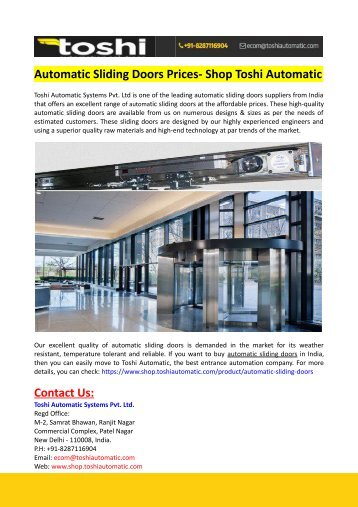 Automatic Sliding Doors Prices- Shop Toshi Automatic