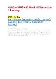 Ashford BUS 430 Week 5 Discussion 1 Leasing