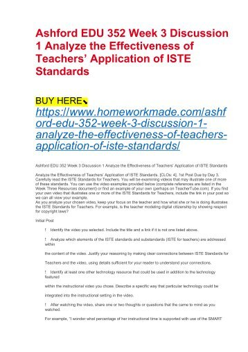 Ashford EDU 352 Week 3 Discussion 1 Analyze the Effectiveness of Teachers' Application of ISTE Standards