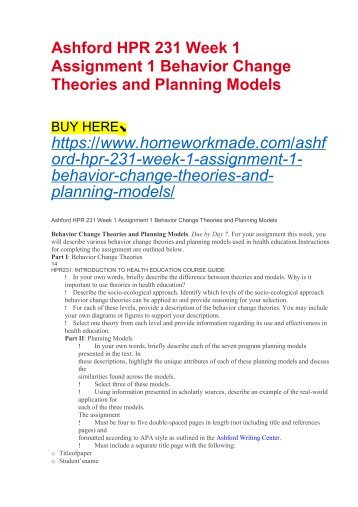 Ashford HPR 231 Week 1 Assignment 1 Behavior Change Theories and Planning Models