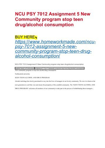 NCU PSY 7012 Assignment 5 New Community program stop teen drug:alcohol consumption
