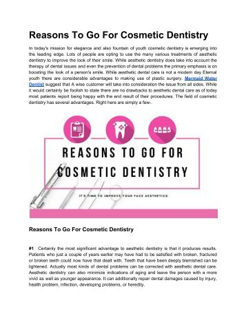 Why To Go For Cosmetic Dentistry?? Your Answers are here!!
