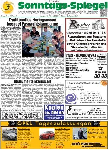 Grünstadter Sonntags Spiegel Stefan Fröhich e.K. - Wochenzeitung - Wochenblatt
