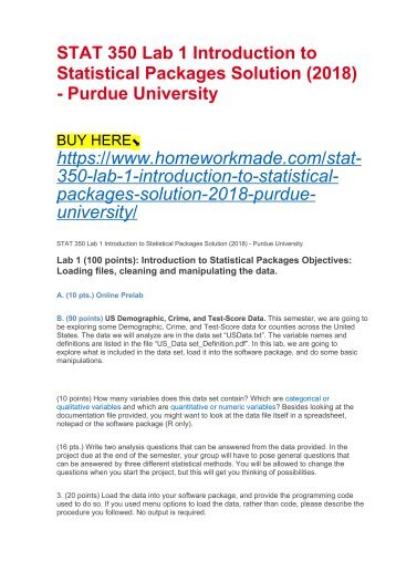 STAT 350 Lab 1 Introduction to Statistical Packages Solution (2018) - Purdue University