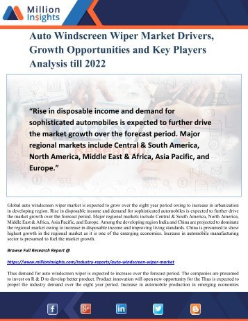 Auto Windscreen Wiper Market Drivers, Growth Opportunities and Key Players Analysis till 2022