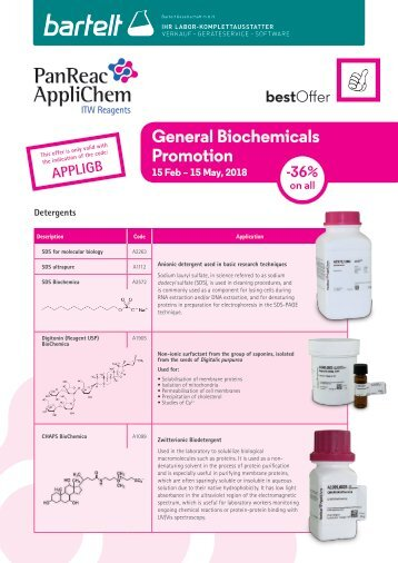 Bartelt Biochemie Aktion PanReac AppliChem