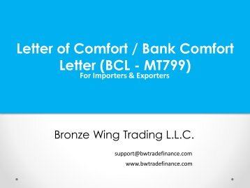 Bank Comfort Letter (BCL - MT799)